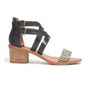 Madewell Lora Black Leather Ankle Wrap Sandals